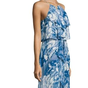 NWT - BCBG Vista Blue Janisa Ruffle Maxi Dress